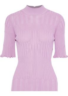 Carolina Herrera Woman Ribbed-knit Turtleneck Top Lilac
