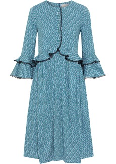 Carolina Herrera Woman Ruffle-trimmed Printed Cotton-blend Dress Blue