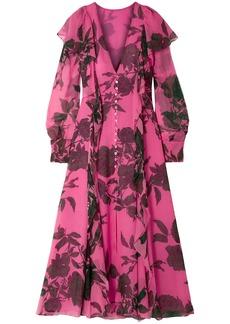 Carolina Herrera Woman Ruffled Floral-print Silk-chiffon Midi Dress Pink