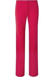 Carolina Herrera Woman Satin-trimmed Stretch-wool Straight-leg Pants Crimson