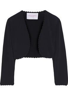 Carolina Herrera Woman Scalloped Stretch-knit Bolero Black