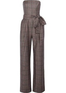 Carolina Herrera Woman Strapless Checked Wool Jumpsuit Gray