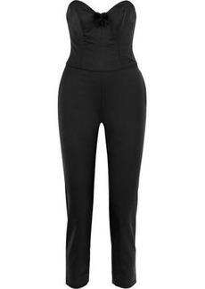 Carolina Herrera Woman Strapless Cropped Appliquéd Wool-blend Twill Jumpsuit Black