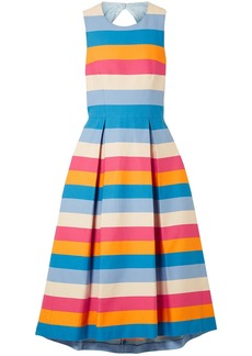 Carolina Herrera Woman Tie-back Striped Cotton-blend Midi Dress Blue