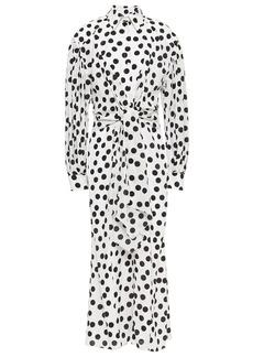 Carolina Herrera Woman Tie-front Polka-dot Stretch-crepe Midi Shirt Dress White