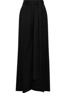 Carolina Herrera Woman Tie-front Stretch-wool Crepe Wide-leg Pants Black
