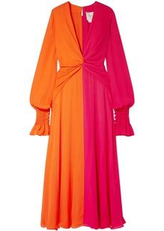 Carolina Herrera Woman Two-tone Gathered Silk-georgette Maxi Dress Bright Orange