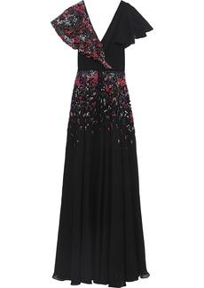 Carolina Herrera Woman Wrap-effect Embellished Silk-georgette Gown Black
