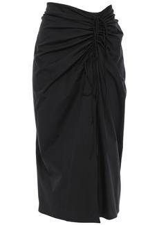 Carolina Herrera Woman Wrap-effect Ruched Cotton-blend Poplin Skirt Black