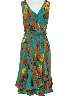 Carolina Herrera Woman Wrap-effect Ruffled Printed  Silk-georgette Dress Multicolor