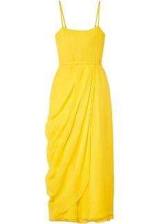 Carolina Herrera Woman Wrap-effect Silk-georgette Midi Dress Yellow