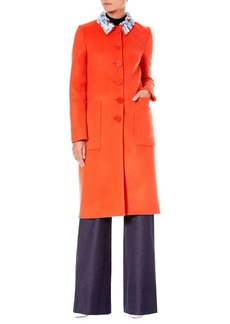 Carolina Herrera Wool Embellished-Collar Coat