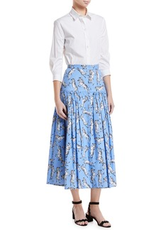Carolina Herrera Zebra-Print Button-Front Cotton Poplin Peasant Skirt