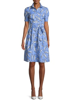 Carolina Herrera Zebra-Print Tie-Waist Poplin Shirtdress