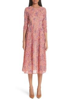 Carolina Herrera Textured Fit & Flare Dress