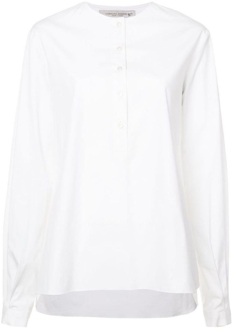 Carolina Herrera Collarless Shirt Dress Shirts