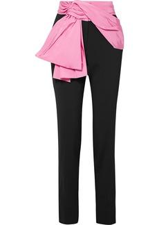 Carolina Herrera Convertible Silk-faille Trimmed Crepe Straight-leg Pants