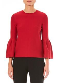 Carolina Herrera Crewneck Bell-Sleeve Knit Pullover Sweater