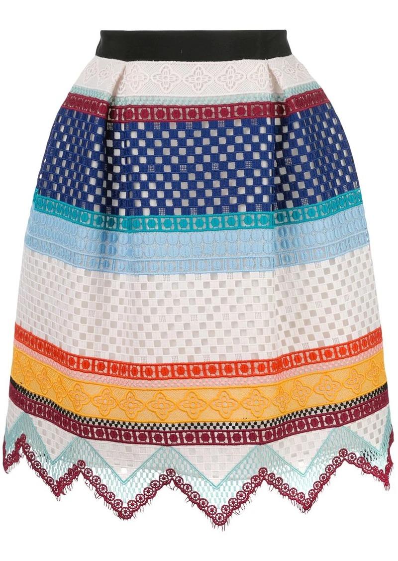 Carolina Herrera crochet striped skirt