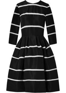 Carolina Herrera Crochet-trimmed Pleated Silk-faille Dress