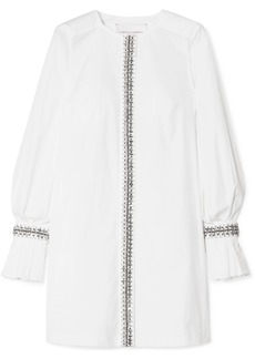 Carolina Herrera Crystal-embellished Cotton-blend Poplin Mini Dress