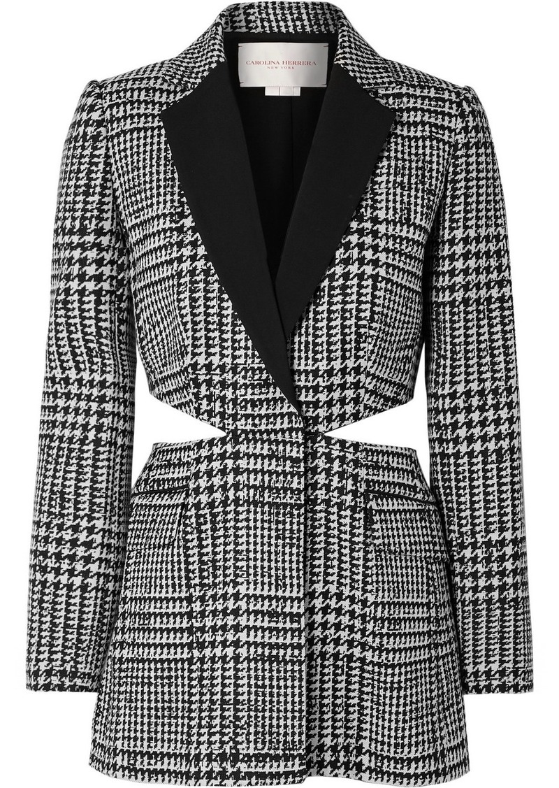 Carolina Herrera Cutout Crepe-trimmed Prince Of Wales Checked Wool And Silk-blend Blazer