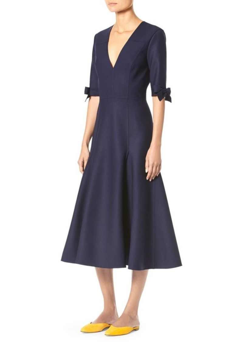 Carolina Herrera Double Face Bow V-Neck A-Line Cocktail Dress