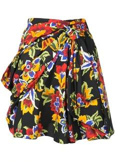 Carolina Herrera draped front floral mini skirt