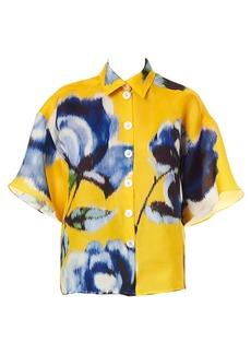 Carolina Herrera Drop-Shoulder Silk Floral Shirt