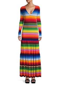 Carolina Herrera Drop-Waist Ribbed Maxi Dress