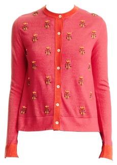 Carolina Herrera Embellished Floral Cashmere & Silk Cardigan