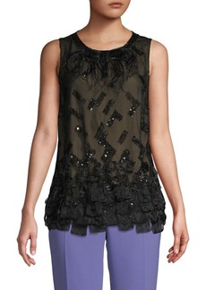 Carolina Herrera Embellished Silk Blouse