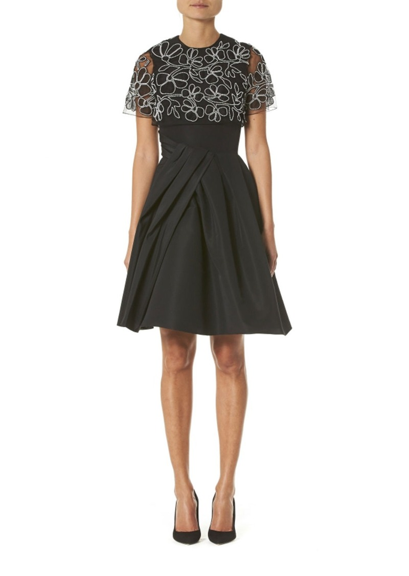 Carolina Herrera Embroidered Draped Capelet Dress