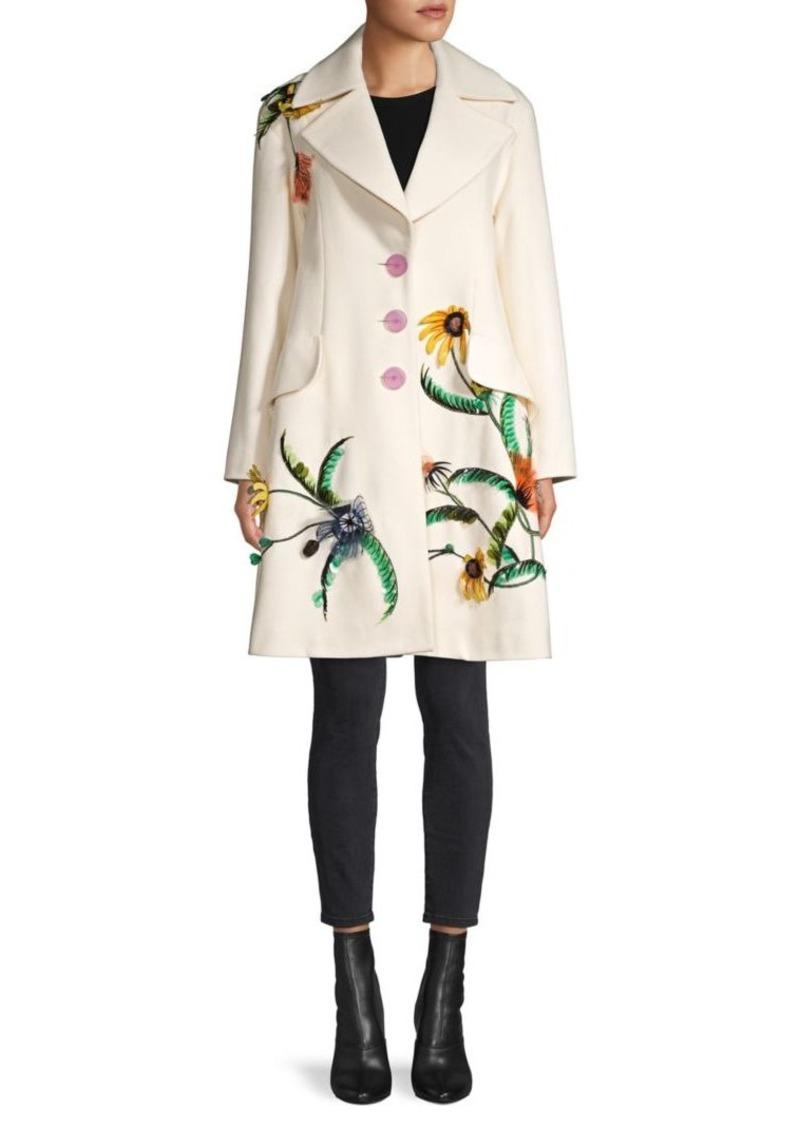 Carolina Herrera Embroidered Wool Coat