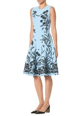 Carolina Herrera Floral A-Line Knit Dress