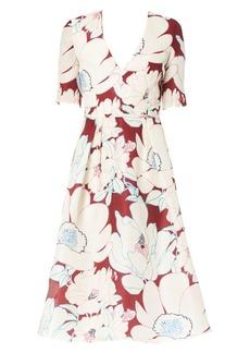Carolina Herrera Floral A-Line Silk Dress