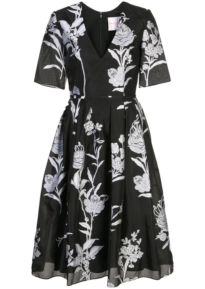 Carolina Herrera floral brocade midi dress