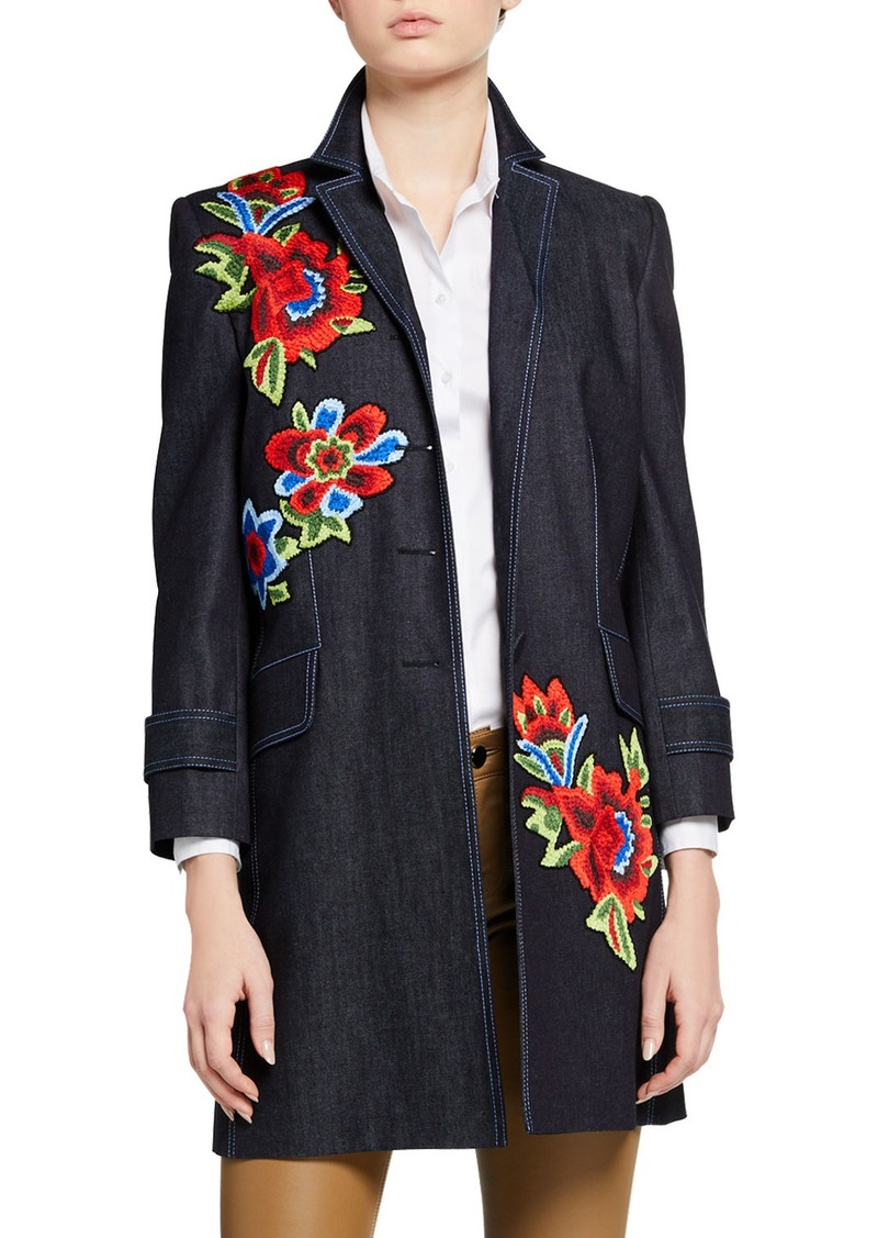 Carolina Herrera Floral Embroidered 3/4-Sleeve Denim Coat
