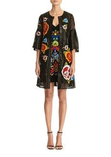Carolina Herrera Floral Embroidered Bell-Sleeve Laser Cut Leather Coat
