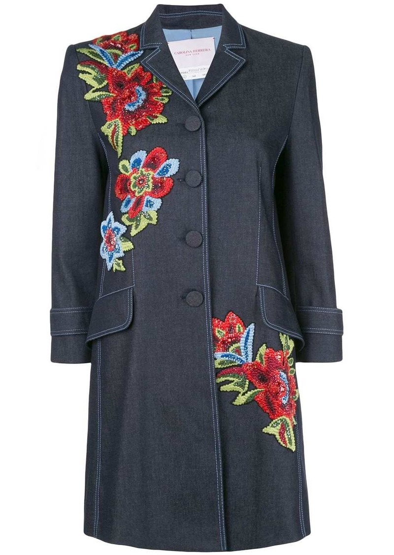 Carolina Herrera floral-embroidered coat