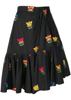 Carolina Herrera floral embroidered gathered skirt