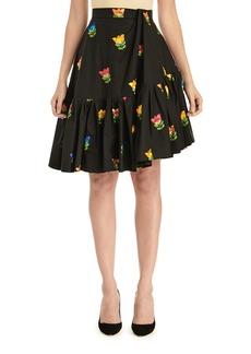Carolina Herrera Floral-Embroidered Side-Drape Flounce Skirt