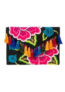 Carolina Herrera floral embroidered tassel clutch