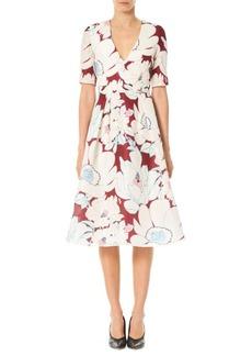 Carolina Herrera Floral Fit & Flare Silk Dress
