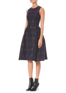 Carolina Herrera Floral Jacquard A-Line Dress