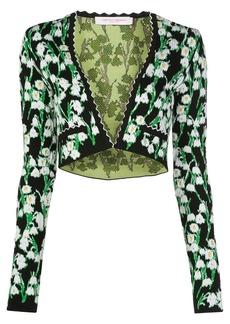 Carolina Herrera floral jacquard bolero cardigan