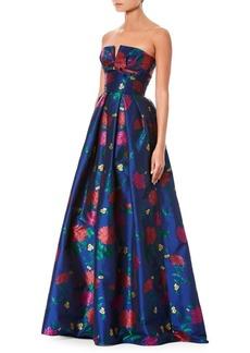 Carolina Herrera Floral Jacquard Strapless Bustier Gown