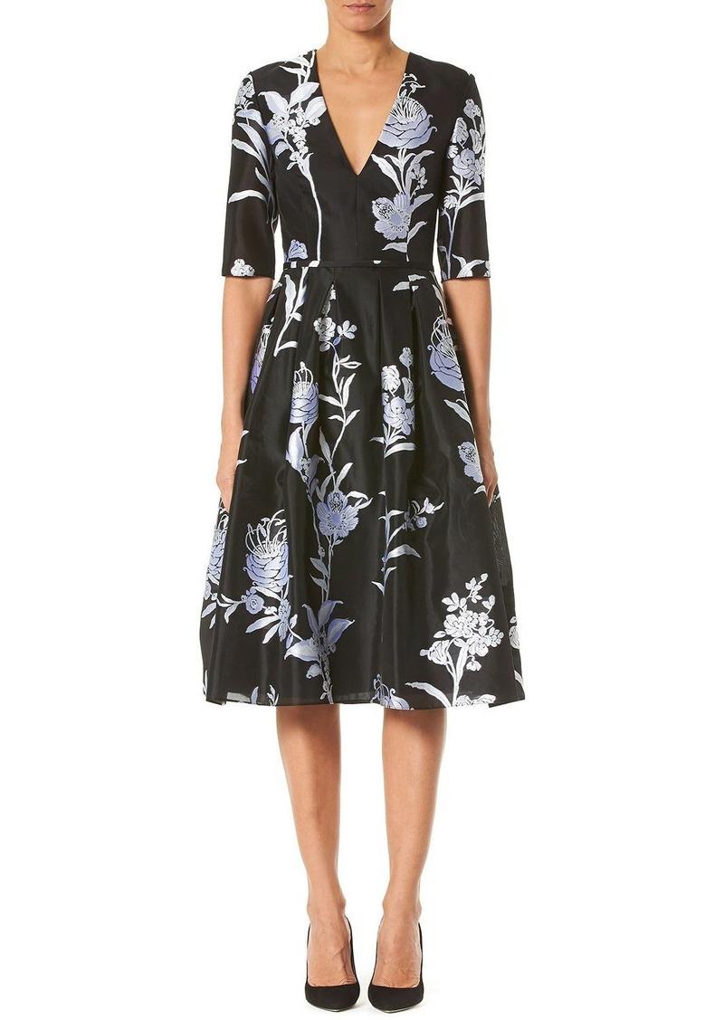 Carolina Herrera Floral Jacquard Taffeta V-Neck Dress