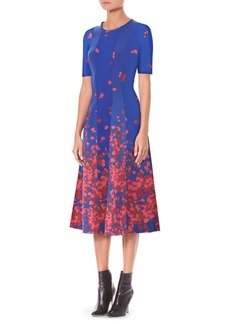 Carolina Herrera Floral Neoprene A-Line Dress