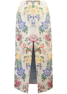 Carolina Herrera floral patterned straight skirt